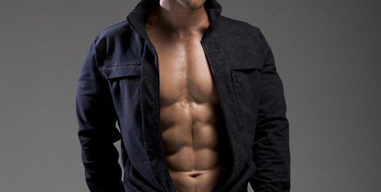 Rocky Russo, model and personal trainer, models a jacket